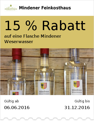 15 % Rabatt auf eine Flasche Mindener Weserwasser