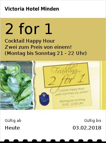 2 for 1 Cocktail Happy Hour  Zwei zum Preis von einem! (Montag bis Sonntag 21 - 22 Uhr)