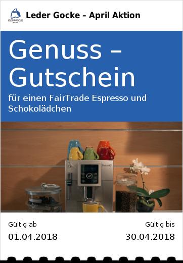 Genuss –Gutschein für einen FairTrade Espresso und Schokolädchen