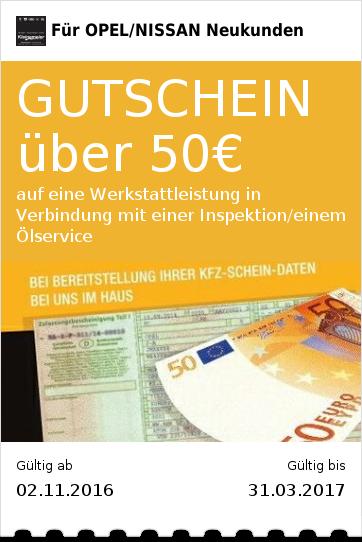 GUTSCHEIN über 50€ auf eine Werkstattleistung in Verbindung mit einer Inspektion/einem Ölservice